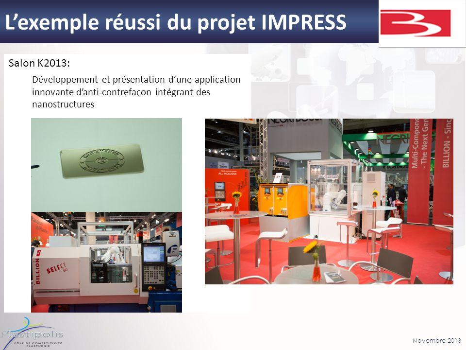 Novembre 2013 Lexemple réussi du projet IMPRESS Salon K2013: Développement et présentation dune application innovante danti-contrefaçon intégrant des