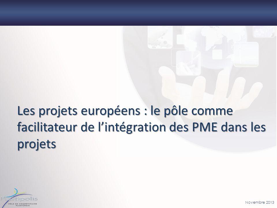 Novembre 2013 Les projets européens : le pôle comme facilitateur de lintégration des PME dans les projets