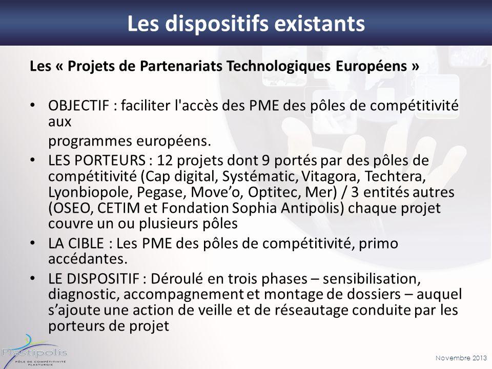 Novembre 2013 27 Les dispositifs existants Les « Projets de Partenariats Technologiques Européens » OBJECTIF : faciliter l'accès des PME des pôles de