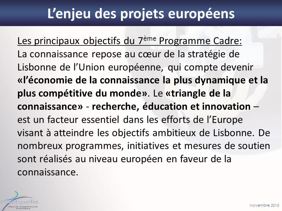 Novembre 2013 Les principaux objectifs du 7 ème Programme Cadre: La connaissance repose au cœur de la stratégie de Lisbonne de lUnion européenne, qui