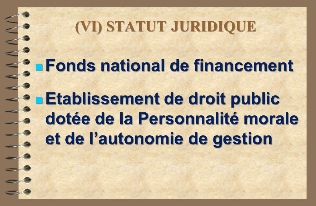 (VI) STATUT JURIDIQUE Fonds national de financement Fonds national de financement Etablissement de droit public dotée de la Personnalité morale et de