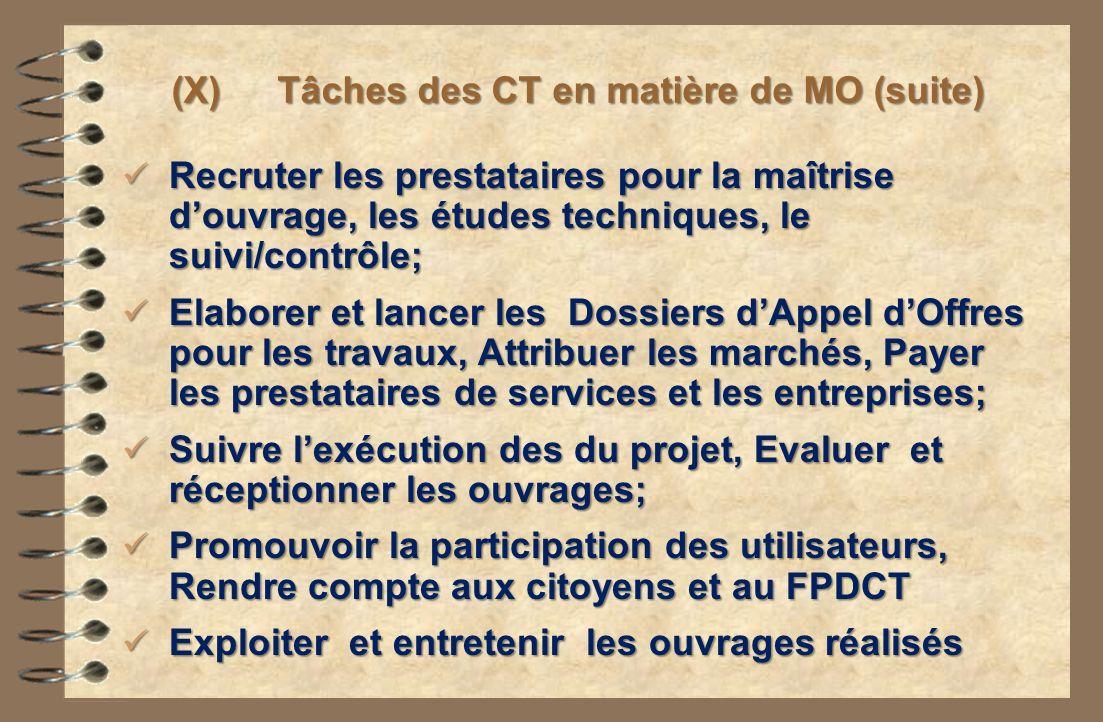 (X) Tâches des CT en matière de MO (suite) Recruter les prestataires pour la maîtrise douvrage, les études techniques, le suivi/contrôle; Recruter les