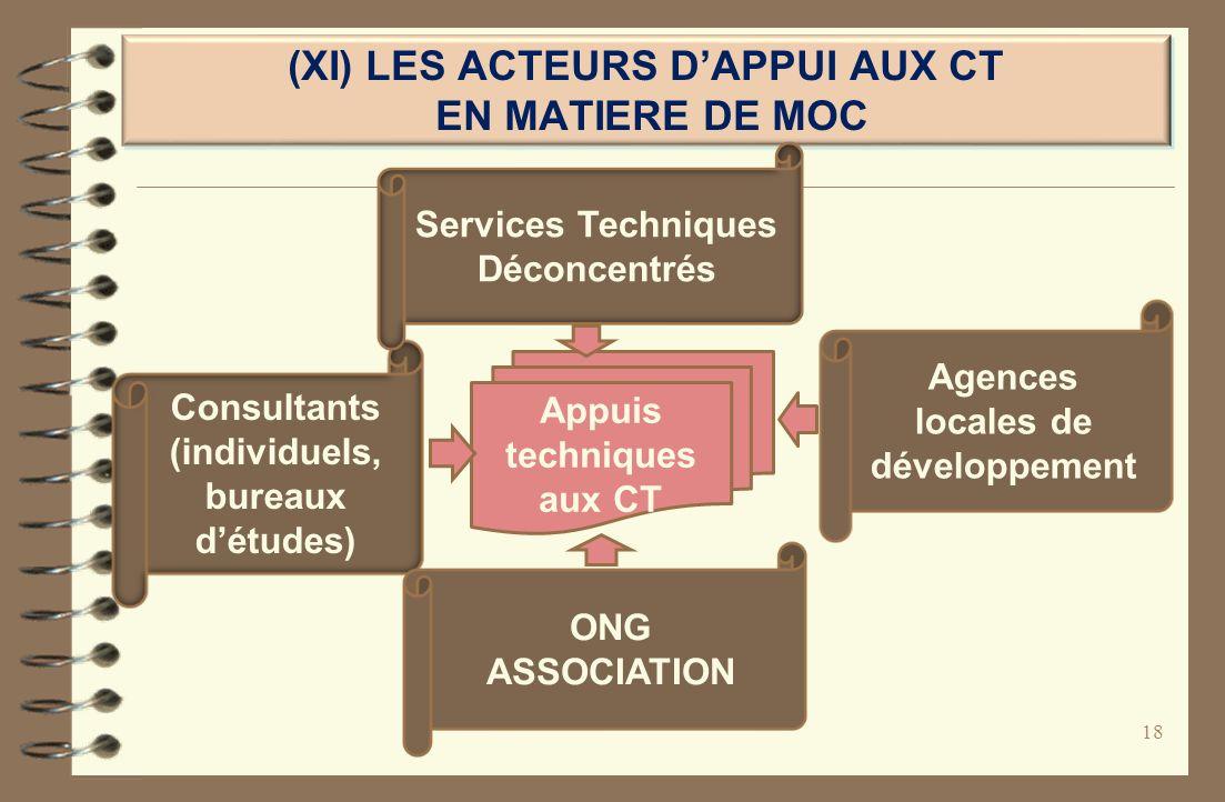 (XI) LES ACTEURS DAPPUI AUX CT EN MATIERE DE MOC 18 Appuis techniques aux CT Agences locales de développement Consultants (individuels, bureaux détude