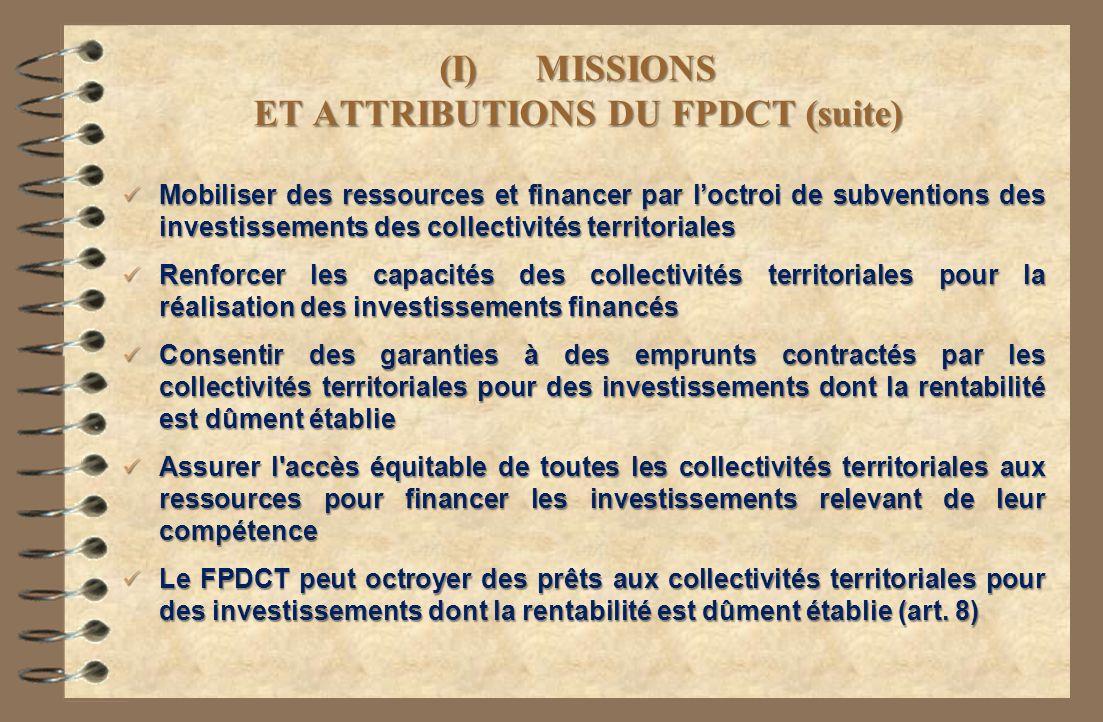 (I)MISSIONS ET ATTRIBUTIONS DU FPDCT (suite) Mobiliser des ressources et financer par loctroi de subventions des investissements des collectivités ter