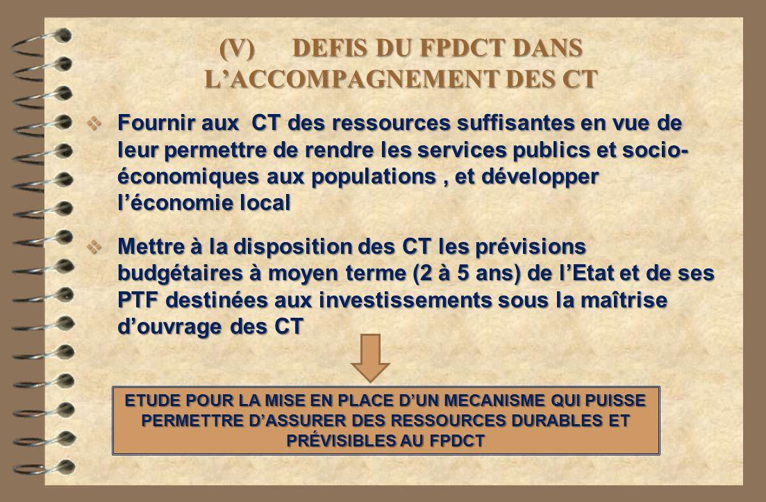 (V) DEFIS DU FPDCT DANS LACCOMPAGNEMENT DES CT Fournir aux CT des ressources suffisantes en vue de leur permettre de rendre les services publics et so