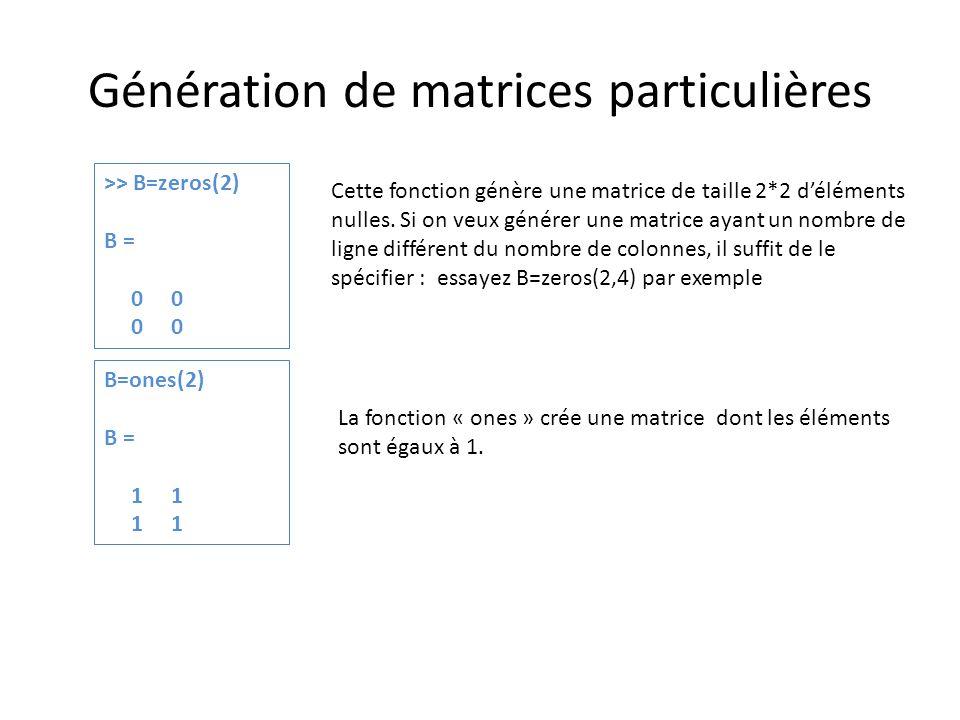 Génération de matrices particulières >> B=zeros(2) B = 0 0 Cette fonction génère une matrice de taille 2*2 déléments nulles. Si on veux générer une ma
