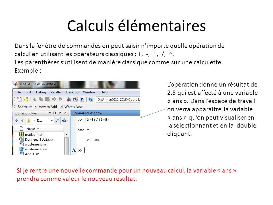Calculs élémentaires Dans la fenêtre de commandes on peut saisir nimporte quelle opération de calcul en utilisant les opérateurs classiques : +, -, *,