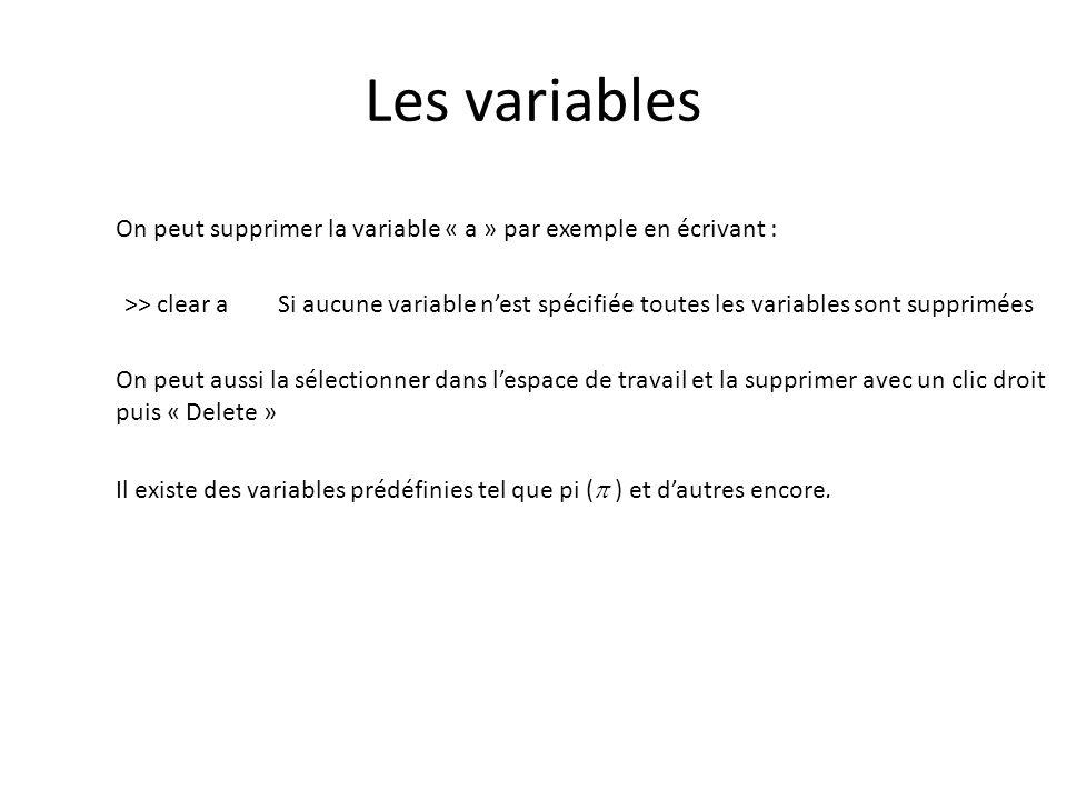 Les variables On peut supprimer la variable « a » par exemple en écrivant : >> clear a Si aucune variable nest spécifiée toutes les variables sont sup