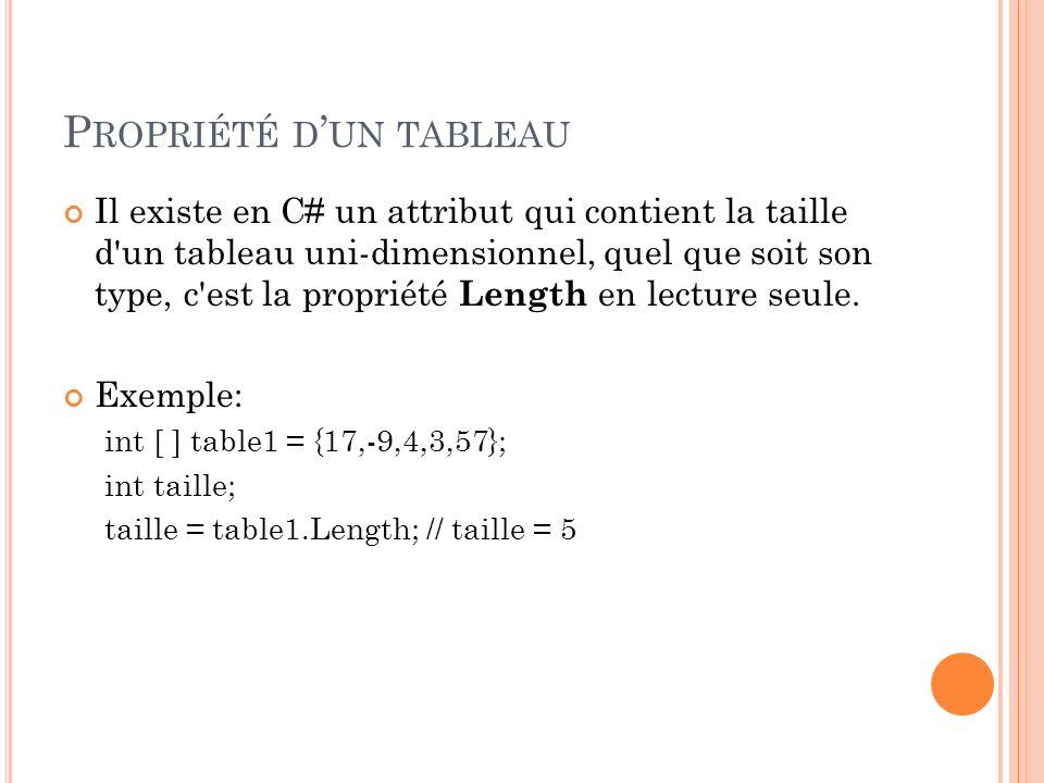 P ROPRIÉTÉ D UN TABLEAU Il existe en C# un attribut qui contient la taille d'un tableau uni-dimensionnel, quel que soit son type, c'est la propriété L