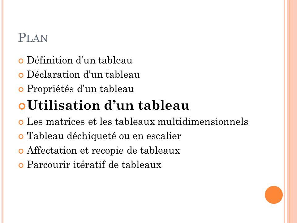 P LAN Définition dun tableau Déclaration dun tableau Propriétés dun tableau Utilisation dun tableau Les matrices et les tableaux multidimensionnels Ta