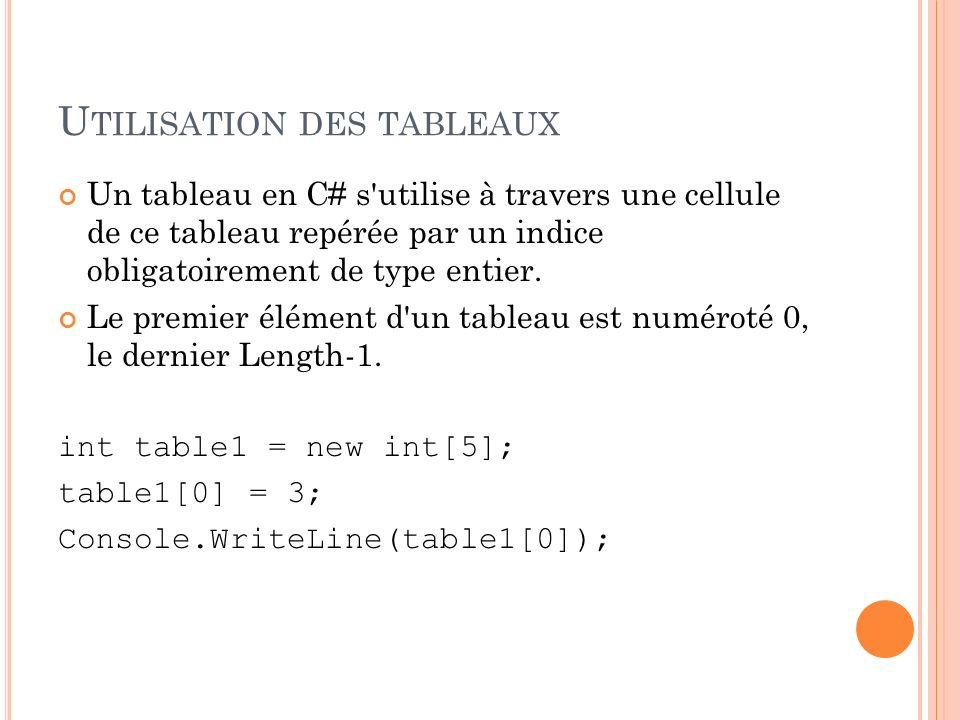 U TILISATION DES TABLEAUX Un tableau en C# s'utilise à travers une cellule de ce tableau repérée par un indice obligatoirement de type entier. Le prem