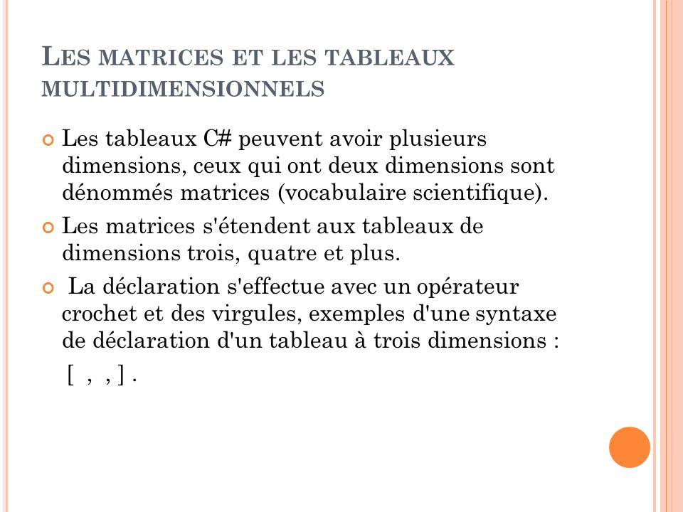 L ES MATRICES ET LES TABLEAUX MULTIDIMENSIONNELS Les tableaux C# peuvent avoir plusieurs dimensions, ceux qui ont deux dimensions sont dénommés matric