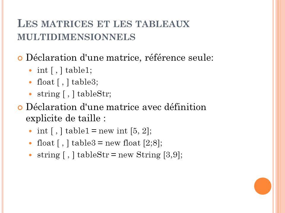 L ES MATRICES ET LES TABLEAUX MULTIDIMENSIONNELS Déclaration d'une matrice, référence seule: int [, ] table1; float [, ] table3; string [, ] tableStr;