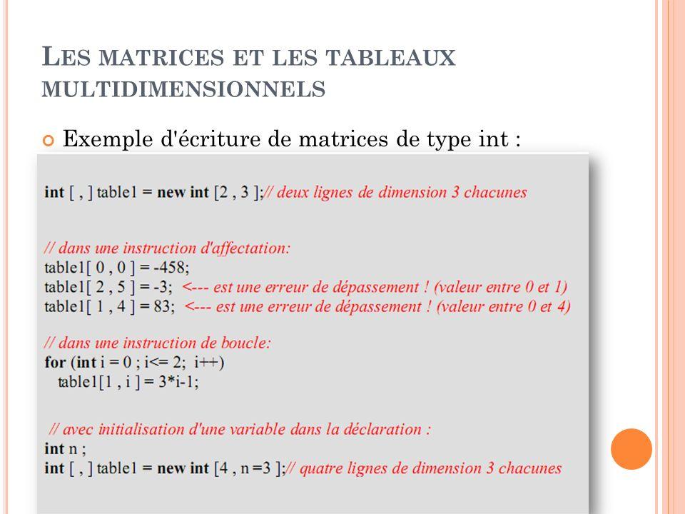 L ES MATRICES ET LES TABLEAUX MULTIDIMENSIONNELS Exemple d'écriture de matrices de type int :