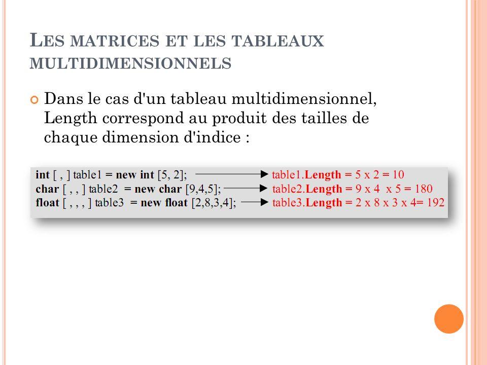 L ES MATRICES ET LES TABLEAUX MULTIDIMENSIONNELS Dans le cas d'un tableau multidimensionnel, Length correspond au produit des tailles de chaque dimens