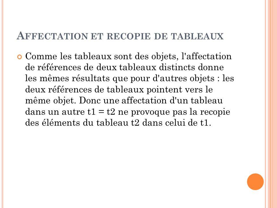 A FFECTATION ET RECOPIE DE TABLEAUX Comme les tableaux sont des objets, l'affectation de références de deux tableaux distincts donne les mêmes résulta
