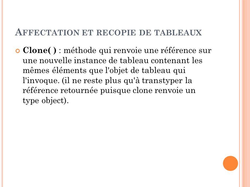 A FFECTATION ET RECOPIE DE TABLEAUX Clone( ) : méthode qui renvoie une référence sur une nouvelle instance de tableau contenant les mêmes éléments que