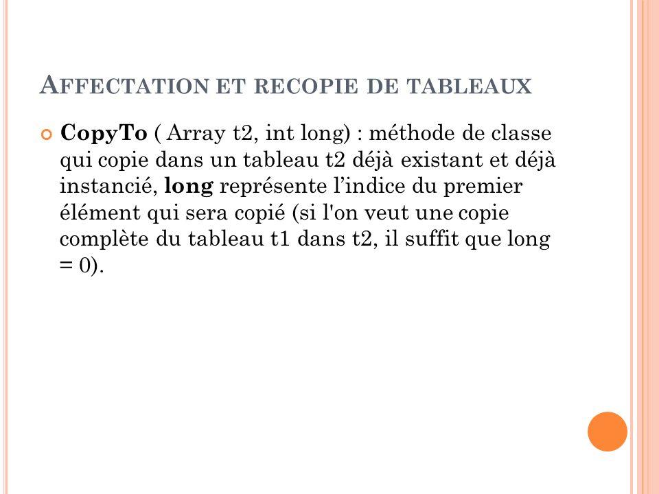 A FFECTATION ET RECOPIE DE TABLEAUX CopyTo ( Array t2, int long) : méthode de classe qui copie dans un tableau t2 déjà existant et déjà instancié, lon