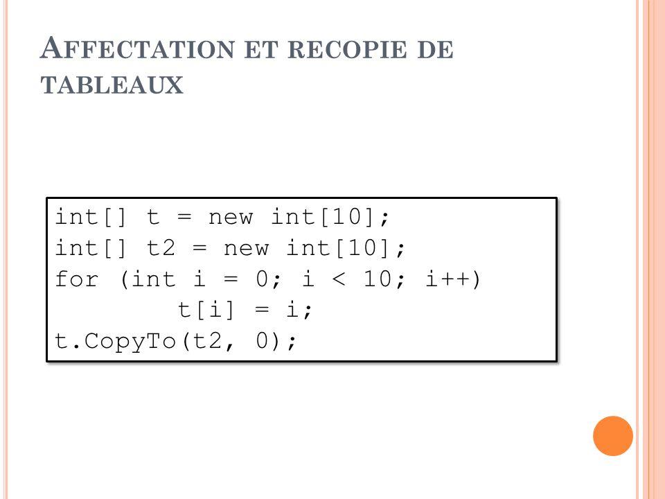 int[] t = new int[10]; int[] t2 = new int[10]; for (int i = 0; i < 10; i++) t[i] = i; t.CopyTo(t2, 0); int[] t = new int[10]; int[] t2 = new int[10];
