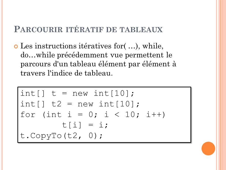 P ARCOURIR ITÉRATIF DE TABLEAUX Les instructions itératives for( …), while, do…while précédemment vue permettent le parcours d'un tableau élément par