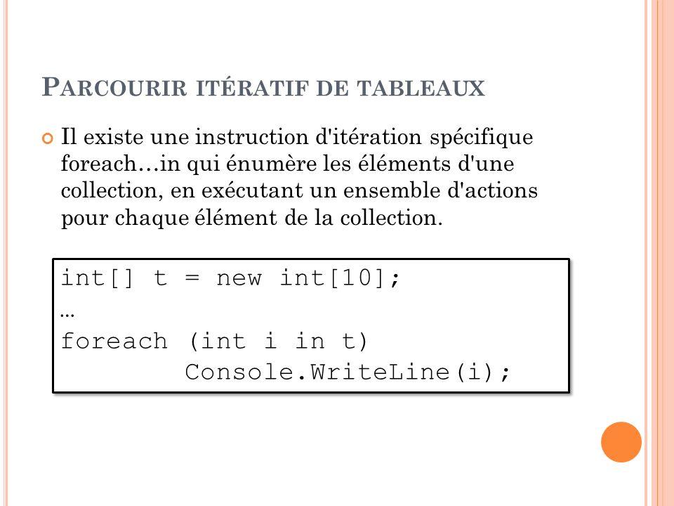 P ARCOURIR ITÉRATIF DE TABLEAUX Il existe une instruction d'itération spécifique foreach…in qui énumère les éléments d'une collection, en exécutant un