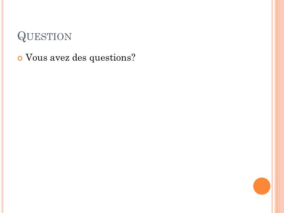 Q UESTION Vous avez des questions?