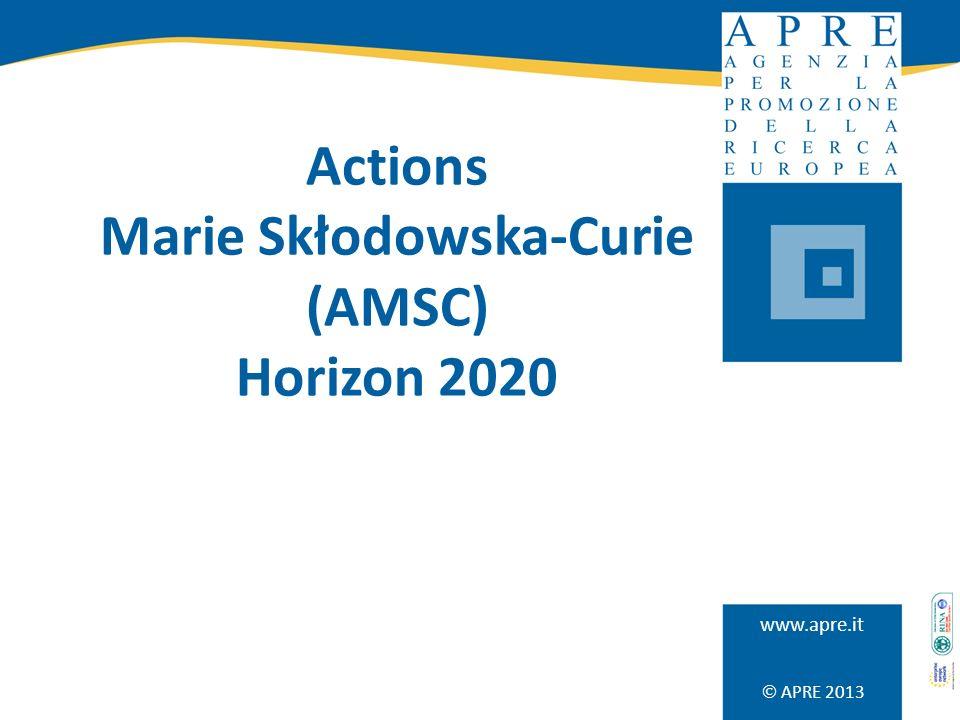 APRE 2013 www.apre.it Actions Marie Skłodowska-Curie (AMSC) Horizon 2020