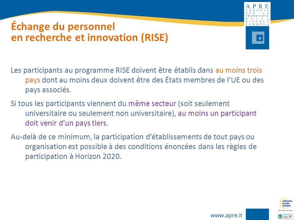Échange du personnel en recherche et innovation (RISE) Les participants au programme RISE doivent être établis dans au moins trois pays dont au moins