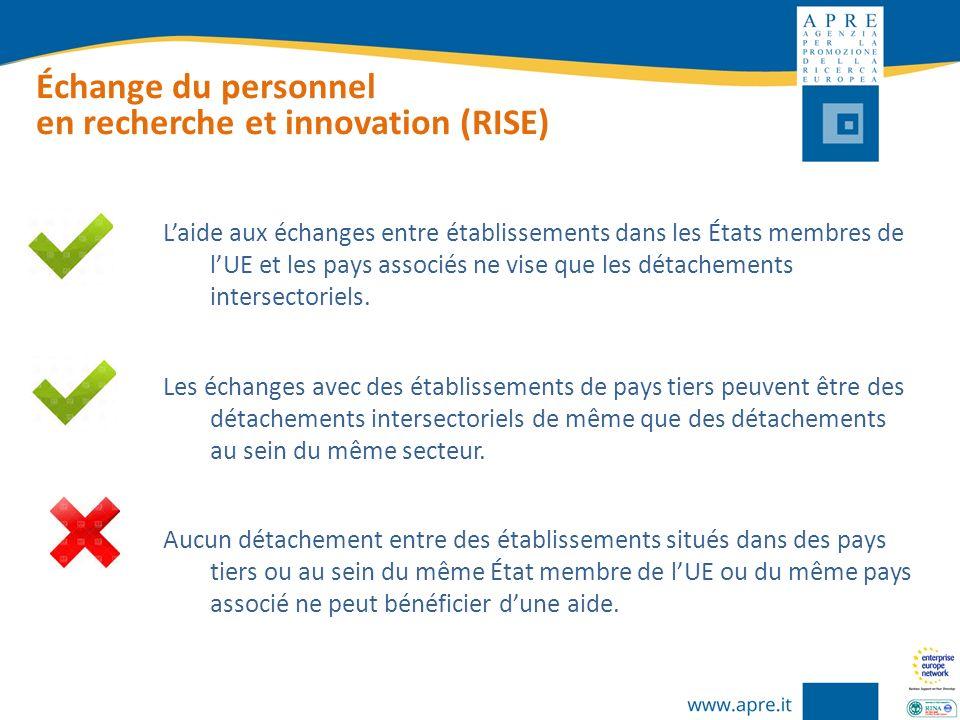 Échange du personnel en recherche et innovation (RISE) Laide aux échanges entre établissements dans les États membres de lUE et les pays associés ne v