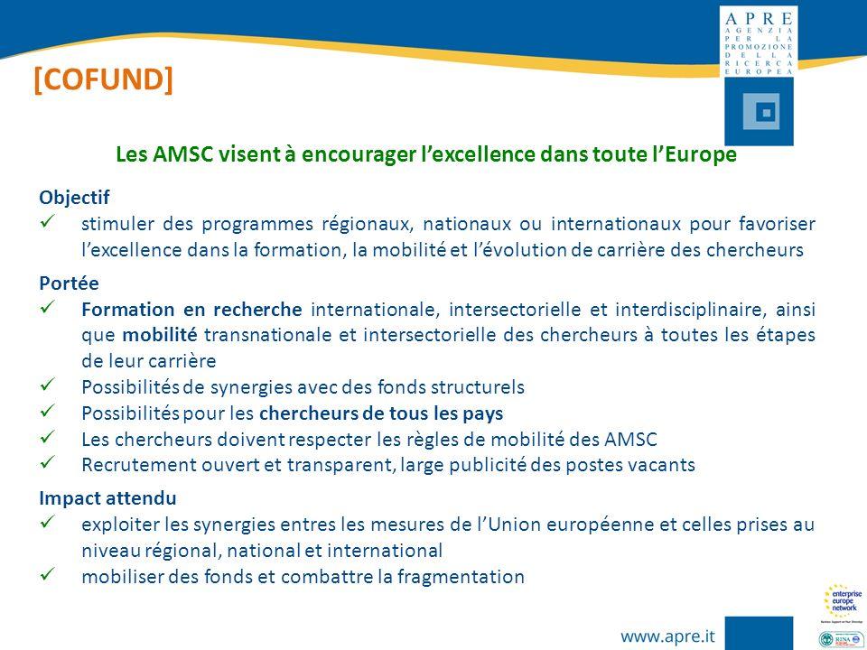 [COFUND] Objectif stimuler des programmes régionaux, nationaux ou internationaux pour favoriser lexcellence dans la formation, la mobilité et lévoluti