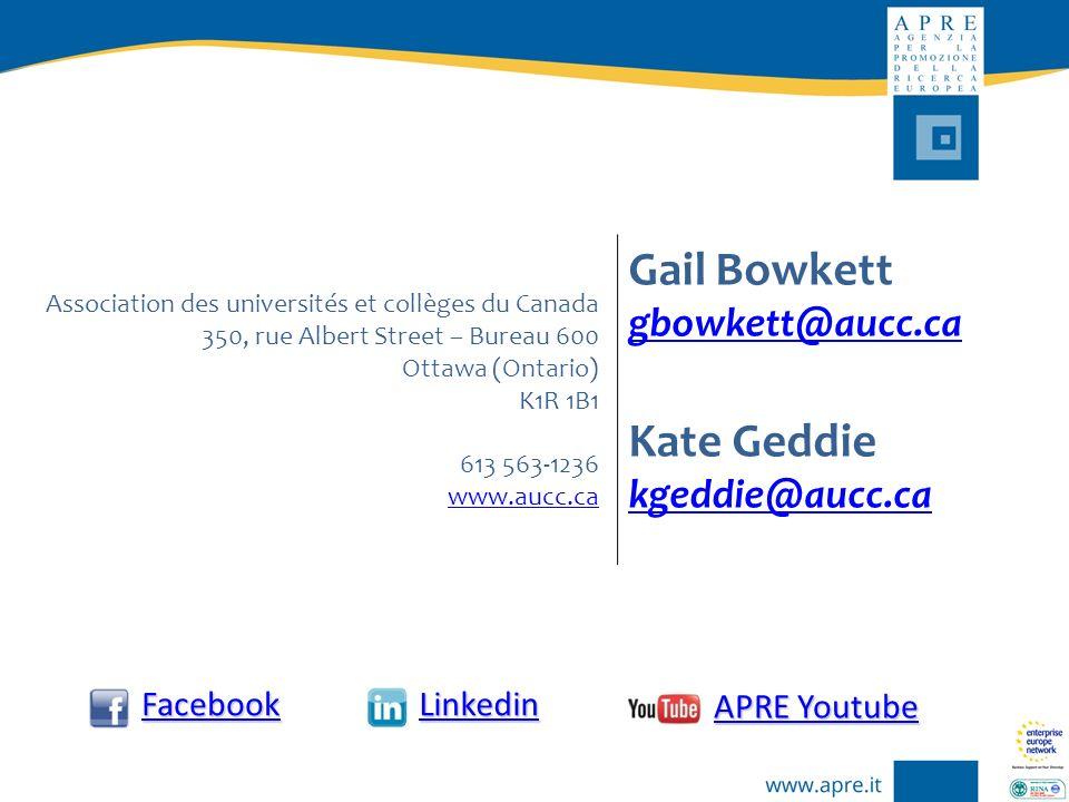 Association des universités et collèges du Canada 350, rue Albert Street – Bureau 600 Ottawa (Ontario) K1R 1B1 613 563-1236 www.aucc.ca Gail Bowkett g