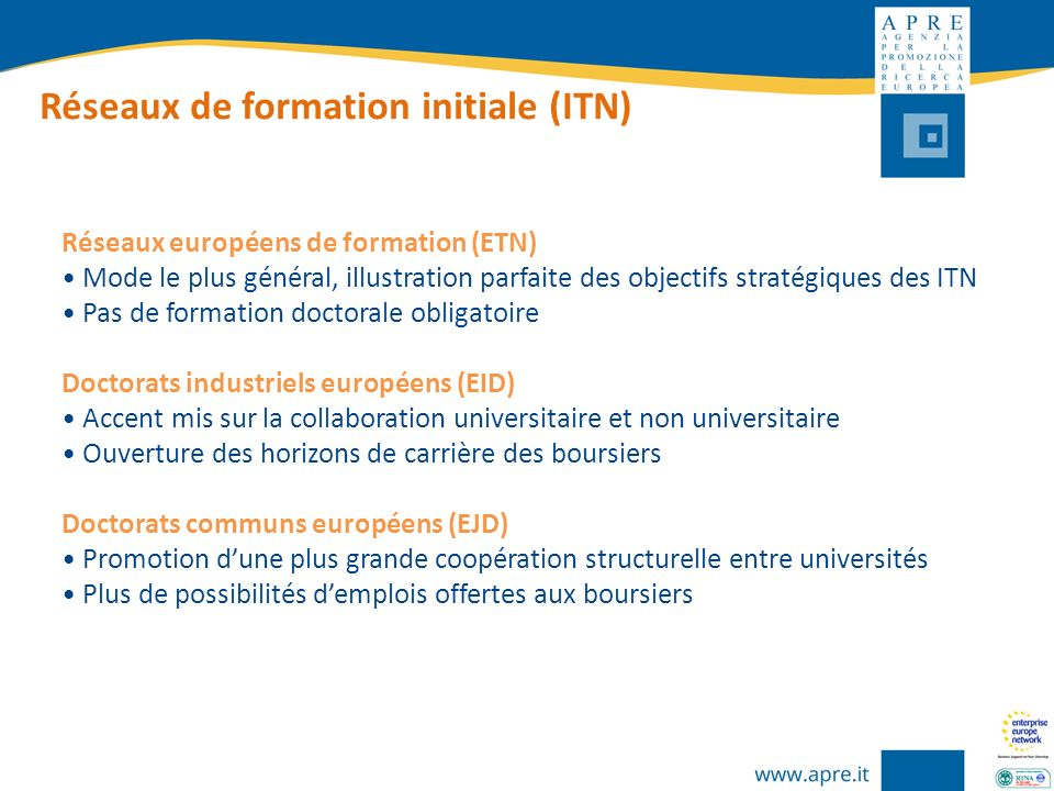 Réseaux de formation initiale (ITN) Réseaux européens de formation (ETN) Mode le plus général, illustration parfaite des objectifs stratégiques des IT