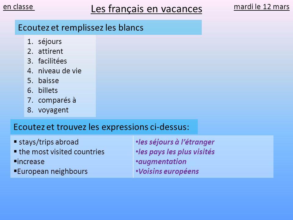 en classe mardi le 12 mars stays/trips abroad the most visited countries increase European neighbours Ecoutez et trouvez les expressions ci-dessus: le