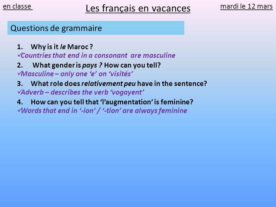 en classe mardi le 12 mars Les français en vacances Questions de grammaire 1.Why is it le Maroc ? 2. What gender is pays ? How can you tell? 3.What ro