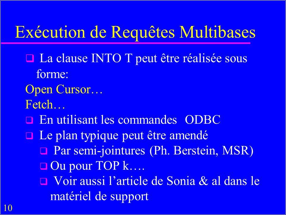 10 Exécution de Requêtes Multibases La clause INTO T peut être réalisée sous forme: Open Cursor… Fetch… En utilisant les commandes ODBC Le plan typique peut être amendé Par semi-jointures (Ph.