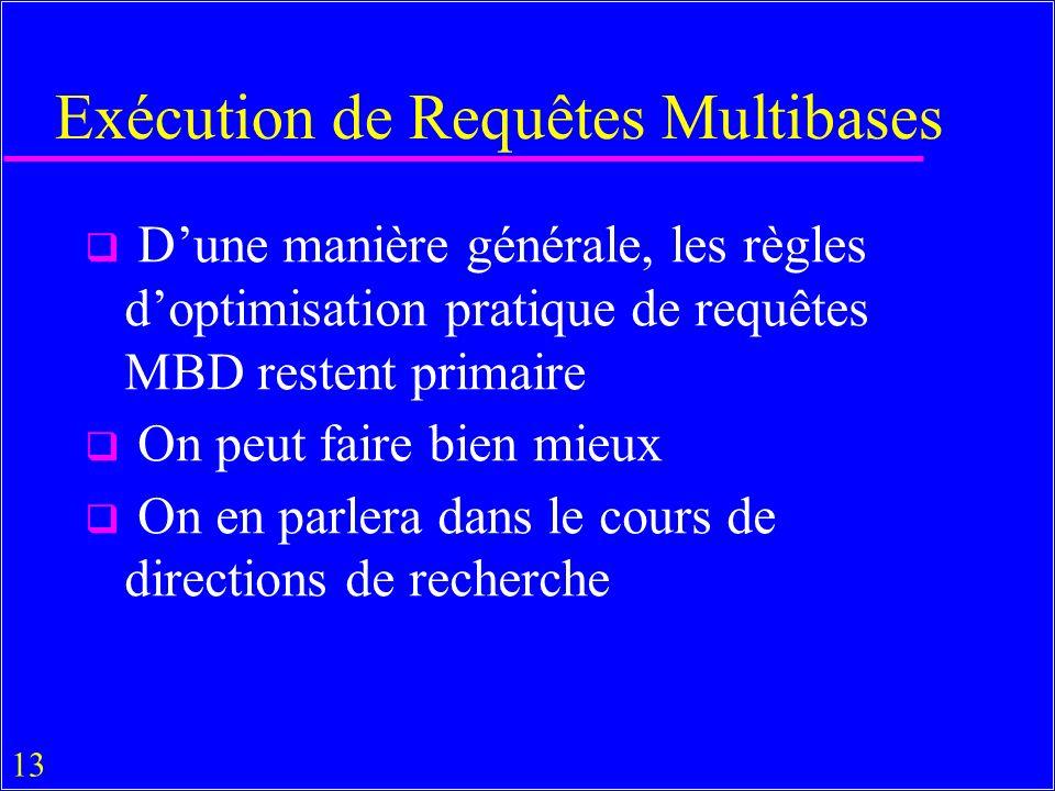 13 Exécution de Requêtes Multibases Dune manière générale, les règles doptimisation pratique de requêtes MBD restent primaire On peut faire bien mieux On en parlera dans le cours de directions de recherche