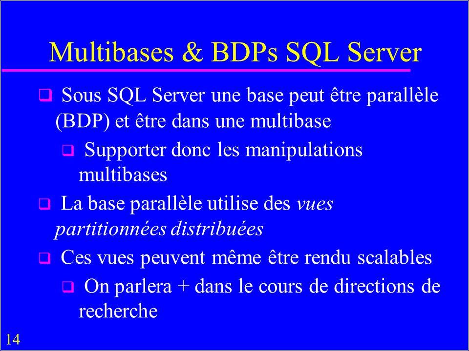 14 Multibases & BDPs SQL Server Sous SQL Server une base peut être parallèle (BDP) et être dans une multibase Supporter donc les manipulations multibases La base parallèle utilise des vues partitionnées distribuées Ces vues peuvent même être rendu scalables On parlera + dans le cours de directions de recherche