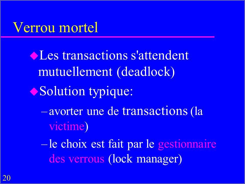 20 Verrou mortel u Les transactions s attendent mutuellement (deadlock) u Solution typique: –avorter une de transactions (la victime) –le choix est fait par le gestionnaire des verrous (lock manager)