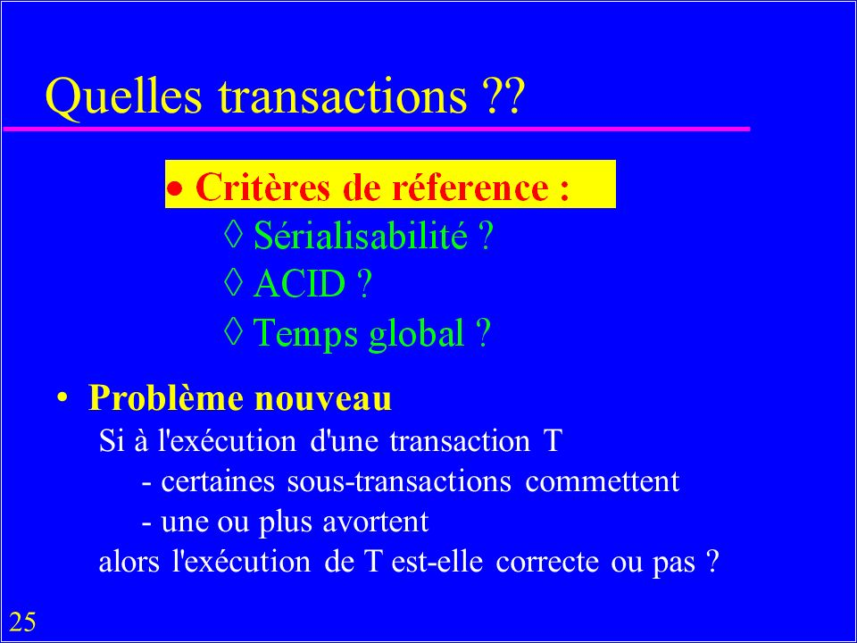 25 Quelles transactions .