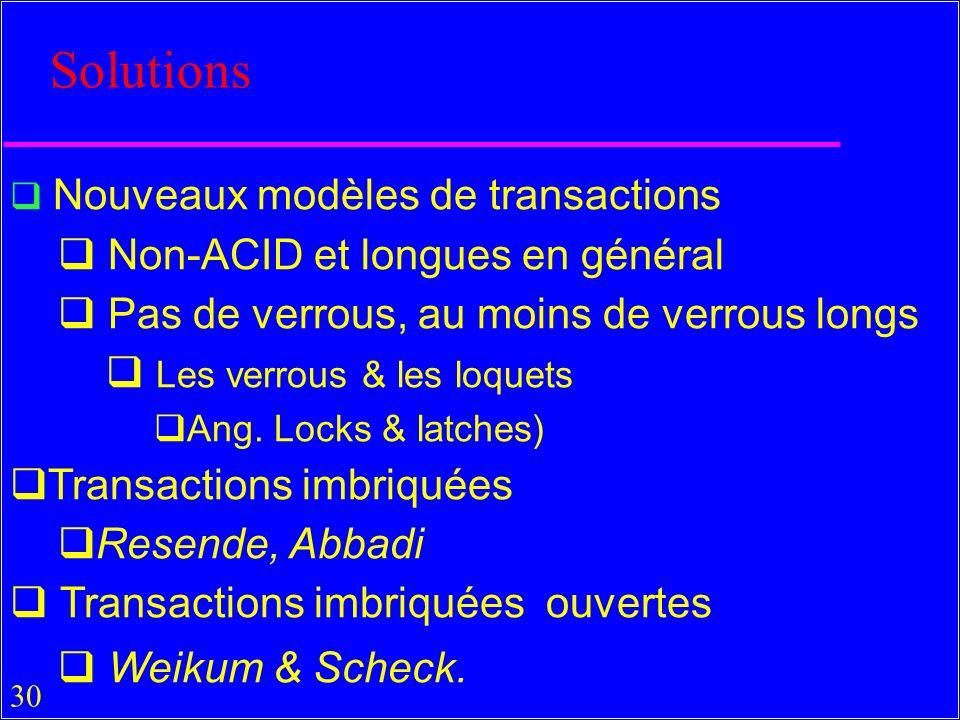 30 Solutions Nouveaux modèles de transactions Non-ACID et longues en général Pas de verrous, au moins de verrous longs Les verrous & les loquets Ang.
