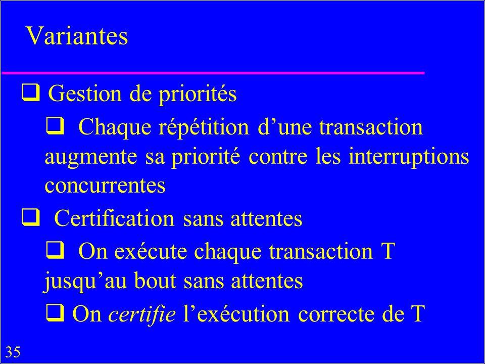 35 Variantes Gestion de priorités Chaque répétition dune transaction augmente sa priorité contre les interruptions concurrentes Certification sans attentes On exécute chaque transaction T jusquau bout sans attentes On certifie lexécution correcte de T