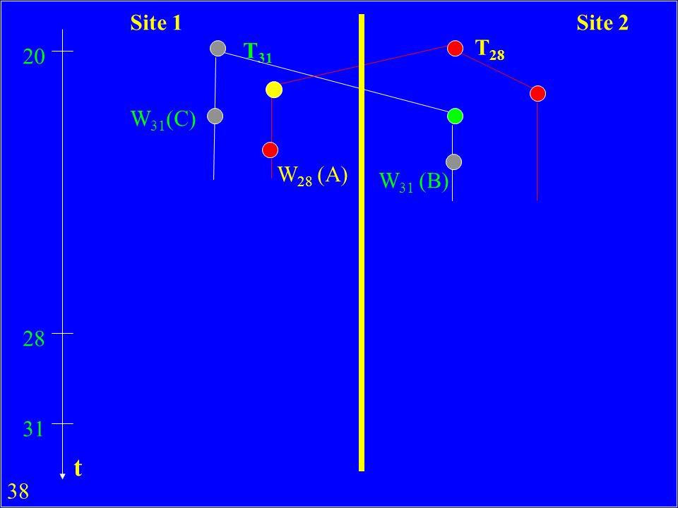 38 T 31 T 28 20 W 31 (C) W 28 (A) 28 31 W 31 (B) Site 1Site 2 t