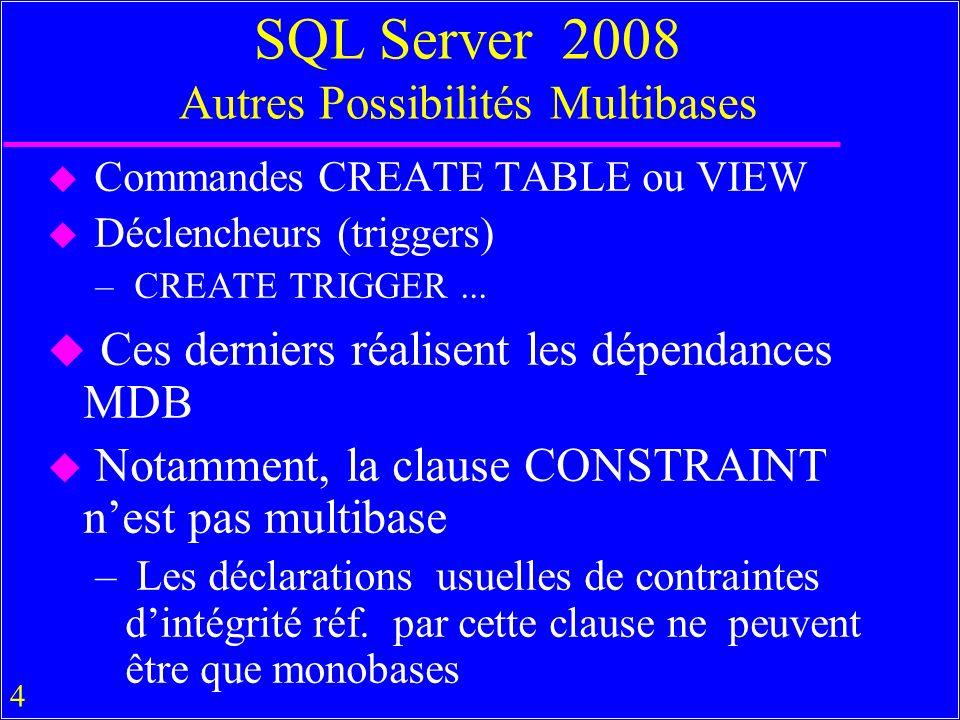 4 SQL Server 2008 Autres Possibilités Multibases u Commandes CREATE TABLE ou VIEW u Déclencheurs (triggers) – CREATE TRIGGER... u Ces derniers réalise