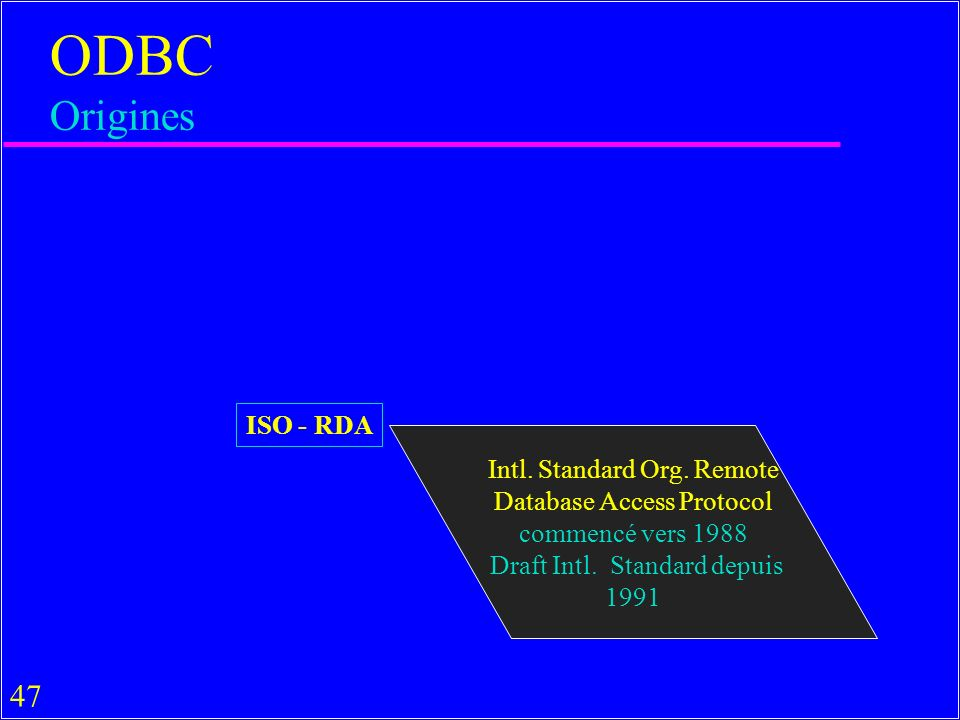 47 ODBC Origines ISO - RDA Intl. Standard Org. Remote Database Access Protocol commencé vers 1988 Draft Intl. Standard depuis 1991