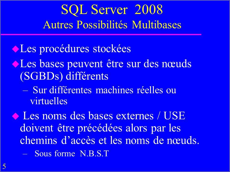 5 SQL Server 2008 Autres Possibilités Multibases u Les procédures stockées u Les bases peuvent être sur des nœuds (SGBDs) différents – Sur différentes machines réelles ou virtuelles u Les noms des bases externes / USE doivent être précédées alors par les chemins daccès et les noms de nœuds.