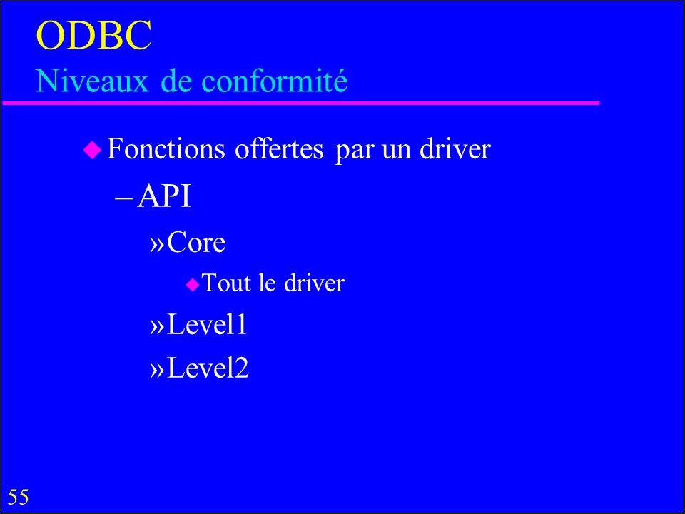 55 ODBC Niveaux de conformité u Fonctions offertes par un driver –API »Core u Tout le driver »Level1 »Level2