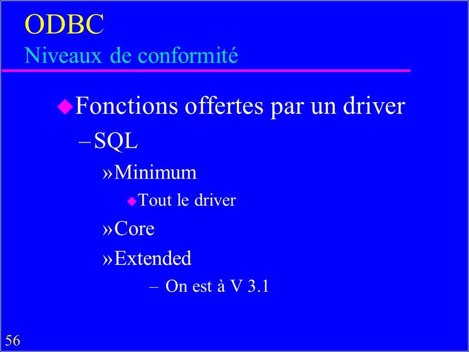 56 ODBC Niveaux de conformité u Fonctions offertes par un driver –SQL »Minimum u Tout le driver »Core »Extended – On est à V 3.1