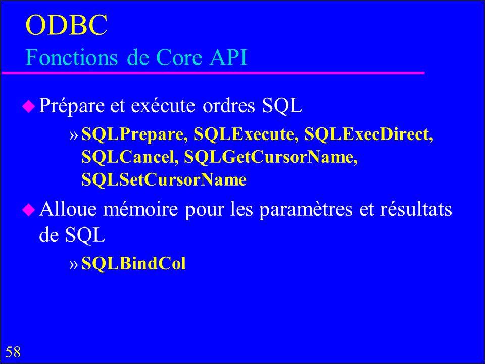 58 ODBC Fonctions de Core API u Prépare et exécute ordres SQL »SQLPrepare, SQLExecute, SQLExecDirect, SQLCancel, SQLGetCursorName, SQLSetCursorName u Alloue mémoire pour les paramètres et résultats de SQL »SQLBindCol