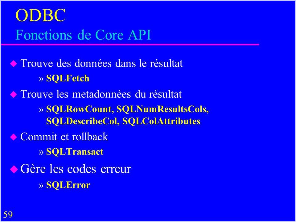 59 ODBC Fonctions de Core API u Trouve des données dans le résultat »SQLFetch u Trouve les metadonnées du résultat »SQLRowCount, SQLNumResultsCols, SQLDescribeCol, SQLColAttributes u Commit et rollback »SQLTransact u Gère les codes erreur »SQLError