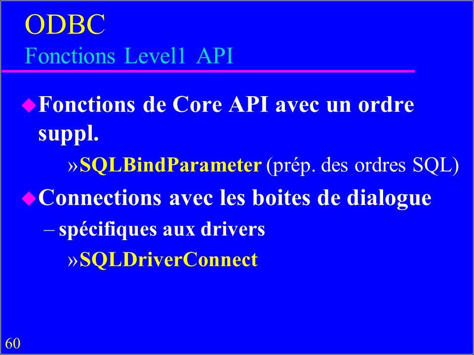 60 ODBC Fonctions Level1 API u Fonctions de Core API avec un ordre suppl. »SQLBindParameter (prép. des ordres SQL) u Connections avec les boites de di